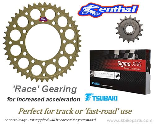 RACE GEARING Renthal Sprockets and GOLD Tsubaki Sigma X Ring Chain