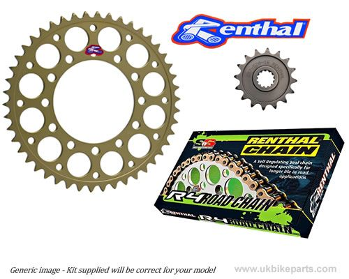 STANDARD GEARING: Renthal Sprockets and GOLD Renthal SRS Chain - Aprilia  Tuono (2006-2011)