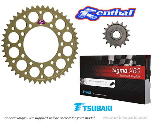 STANDARD GEARING Renthal Sprockets and GOLD Tsubaki Sigma X Ring